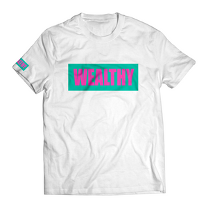 Wealthy Tee (White/Teal/Hot Pink)