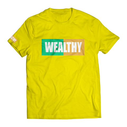 Wealthy Tee (Yellow/Teal/Peach/White)