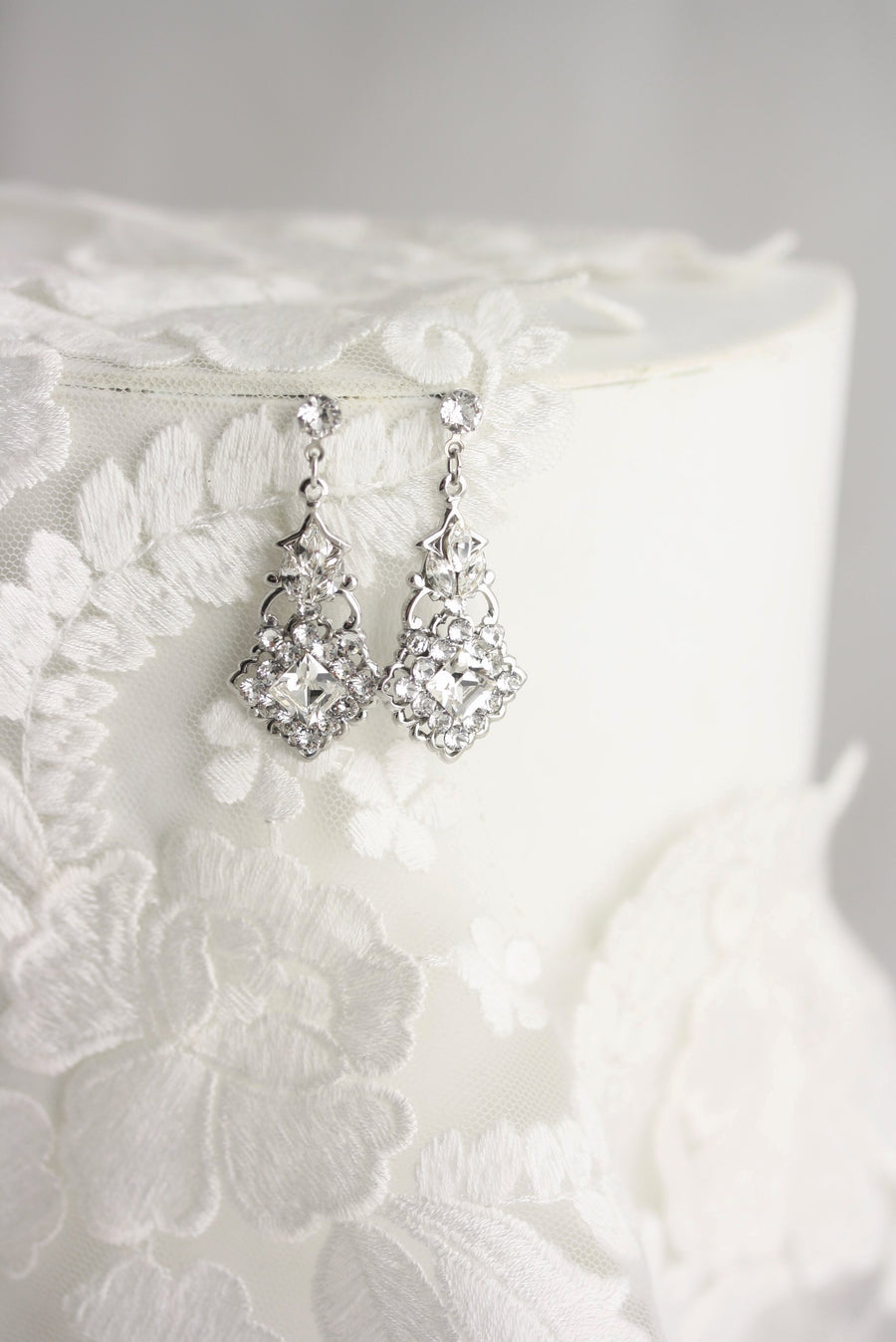 Katrina Silver Bridal Earrings - Lulu Splendor