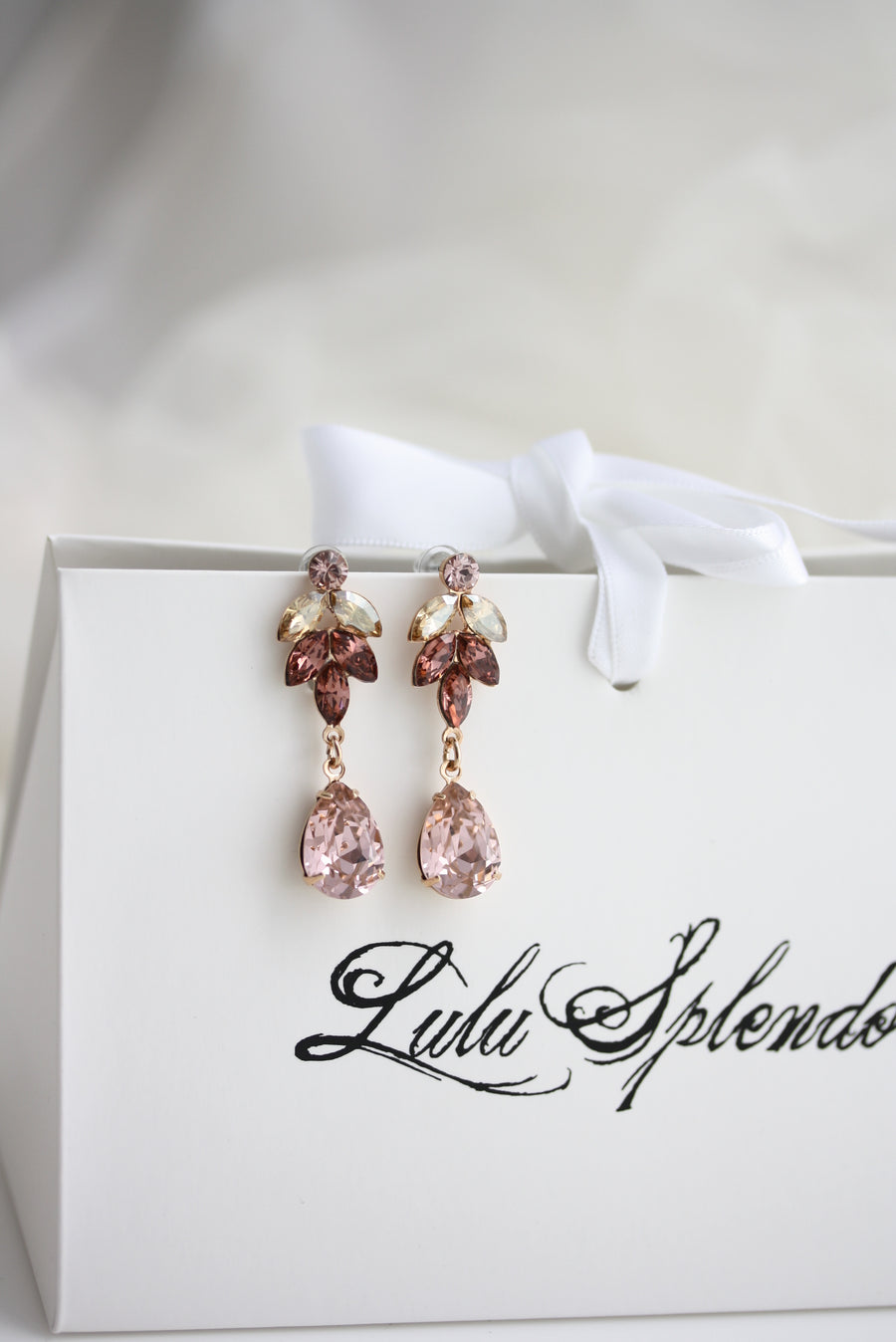 Blush Pink Amelia Crystal Wedding Earrings - Lulu Splendor