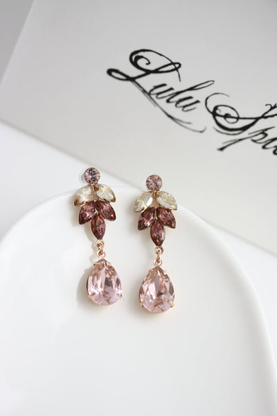 Blush Pink Amelia Crystal Wedding Earrings