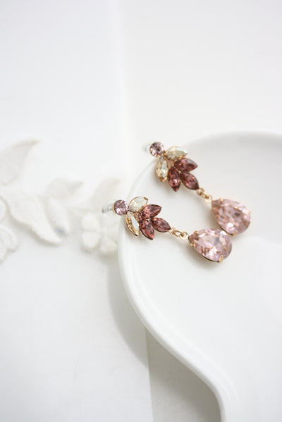 Amelia Blush Pink Crystal Wedding Earrings - Lulu Splendor