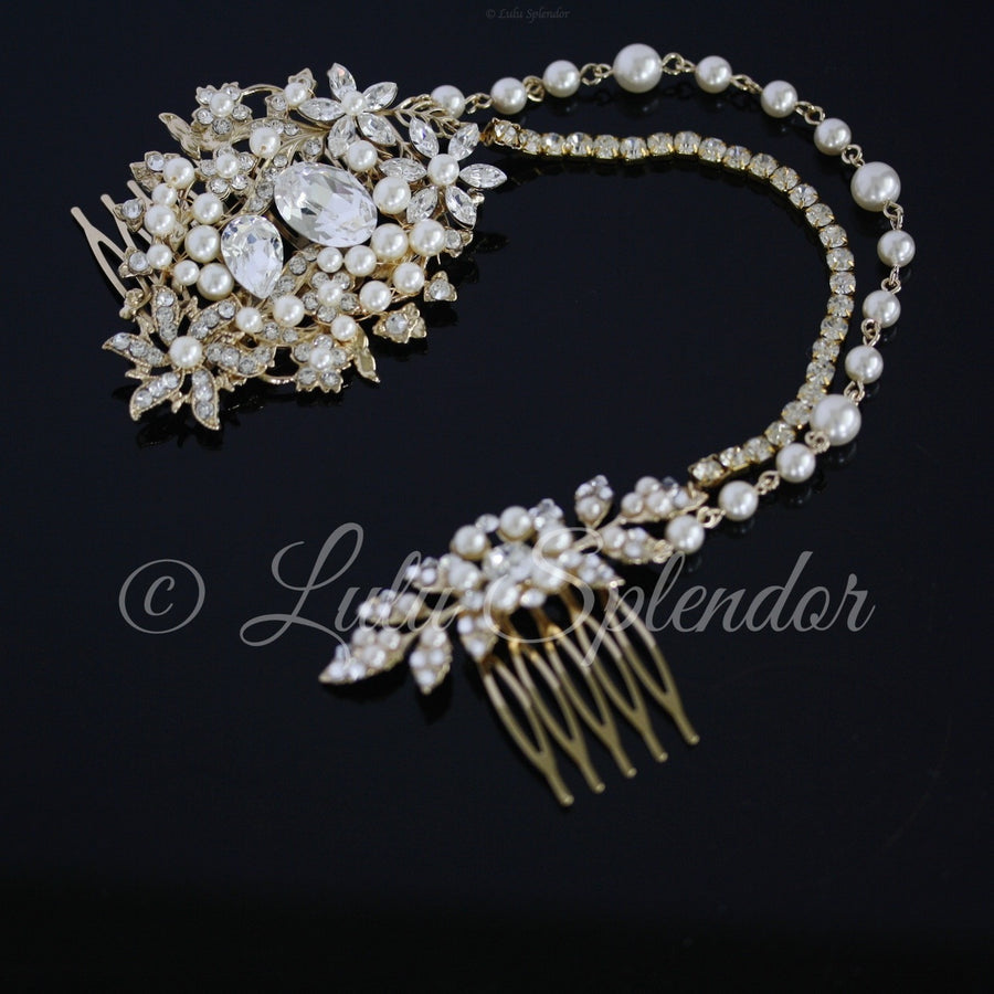 Ambria Pearl and Crystal Vintage Headpiece - Lulu Splendor