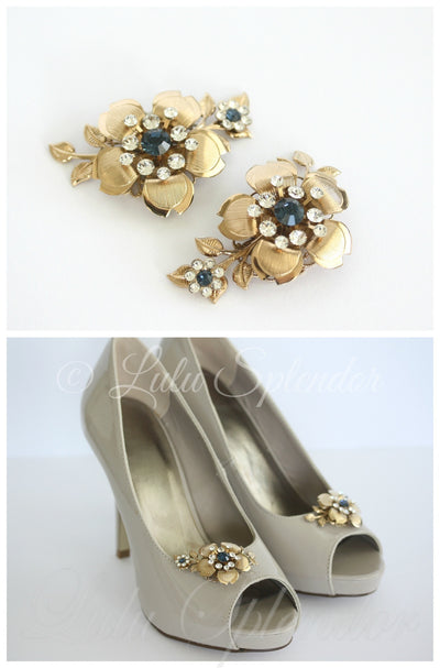 Lisse Floral Wedding Shoe Clips - Lulu Splendor
