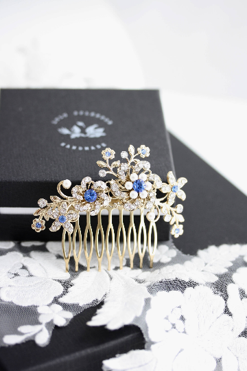 Sabine Blue Crystal Wedding Comb