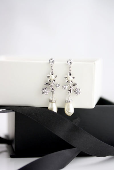 Sabine Garden Silver Pearl Bridal Earrings