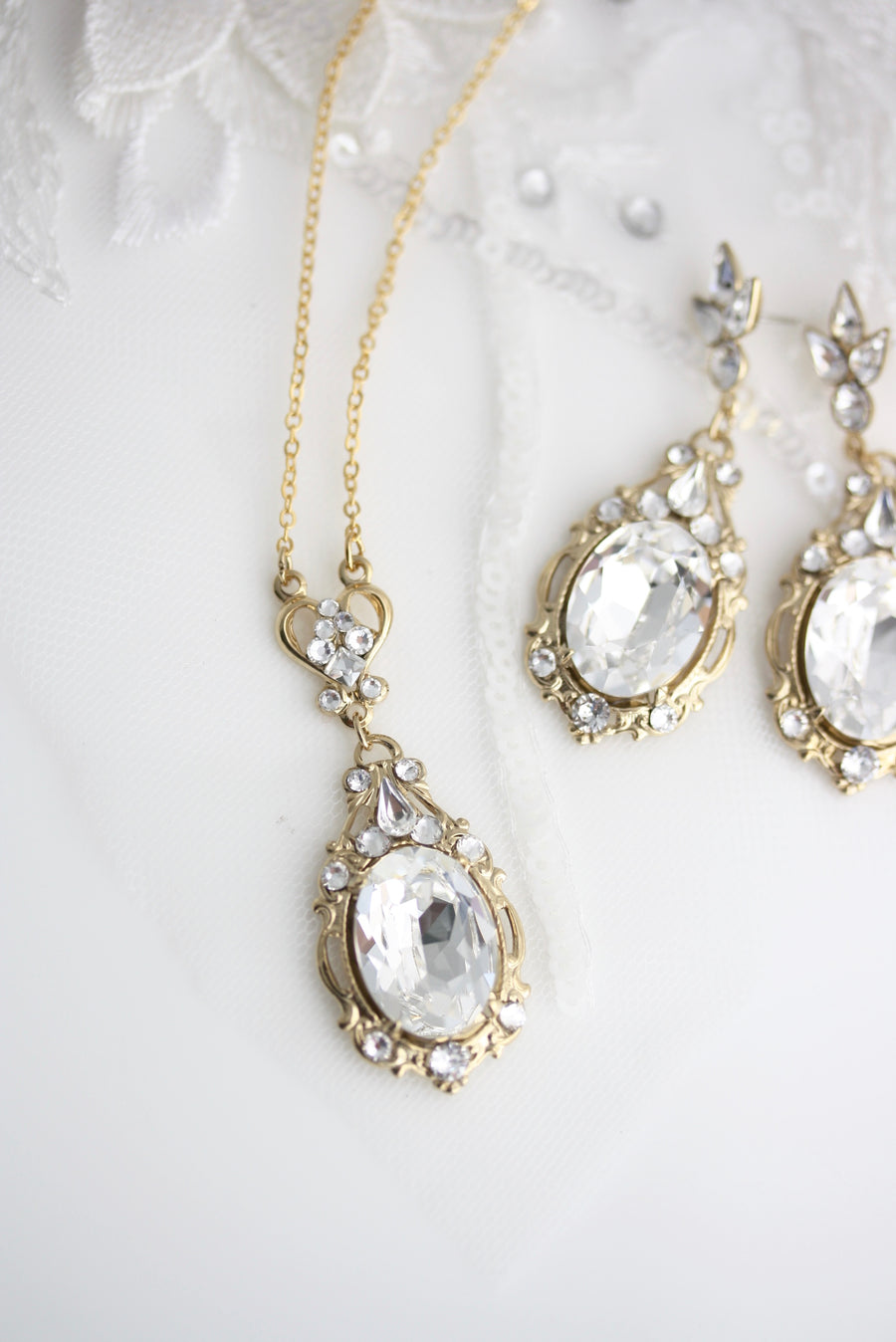 Ryan Crystal Earrings and Necklace Set