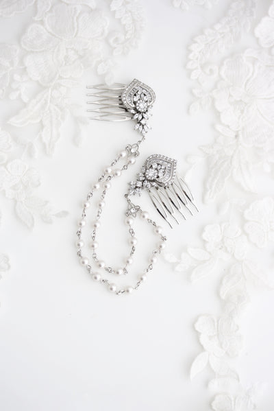 Evie Silver Crystal Hair Chain - Lulu Splendor
