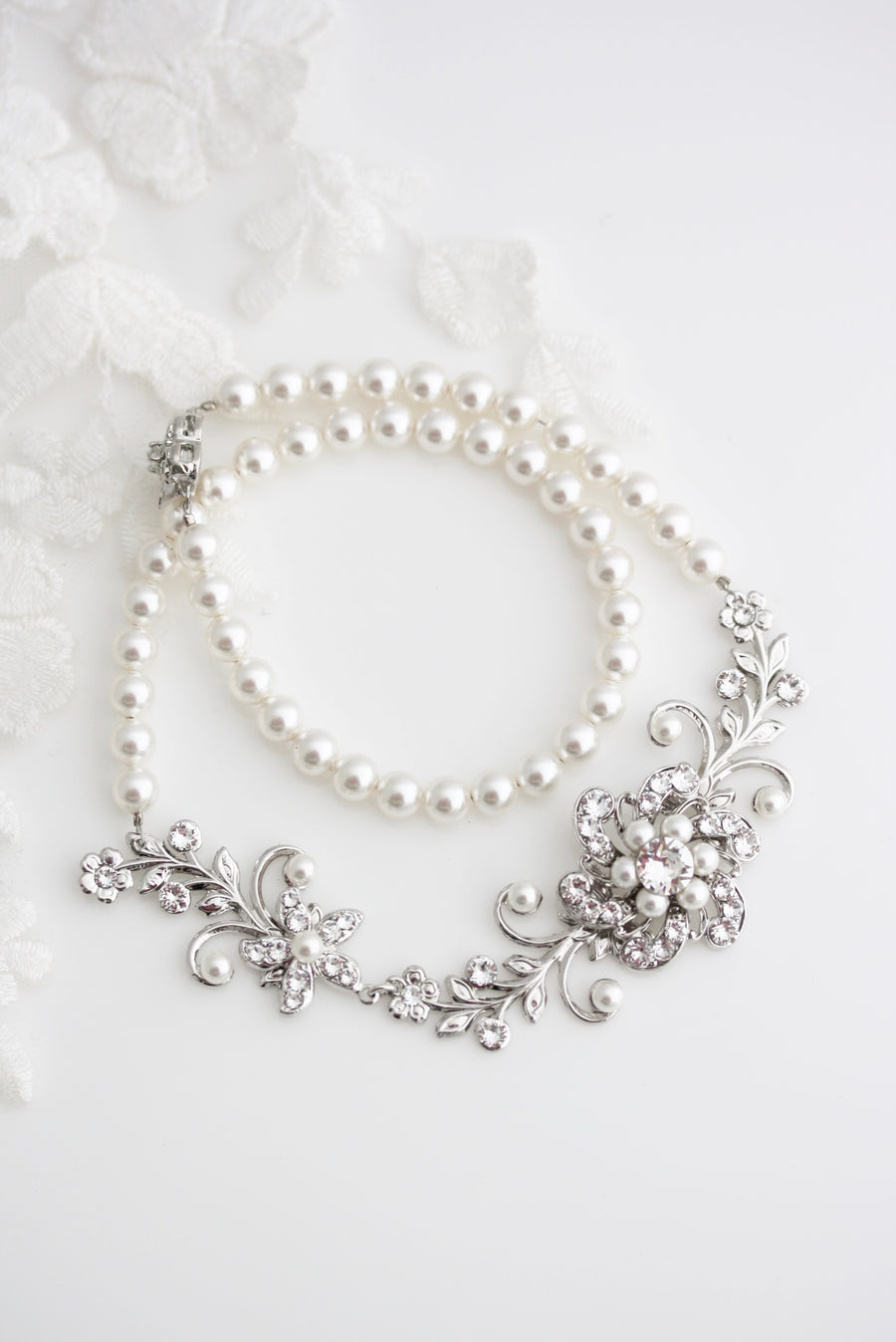 Sabine Garden Pearl Bridal Necklace