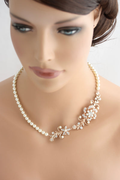 Sabine Pearl Backdrop Bridal Necklace