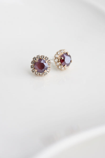 Halo Red Crystal Stud Earrings