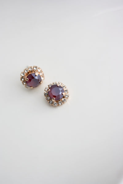 Halo Red Crystal Stud Earrings - Lulu Splendor