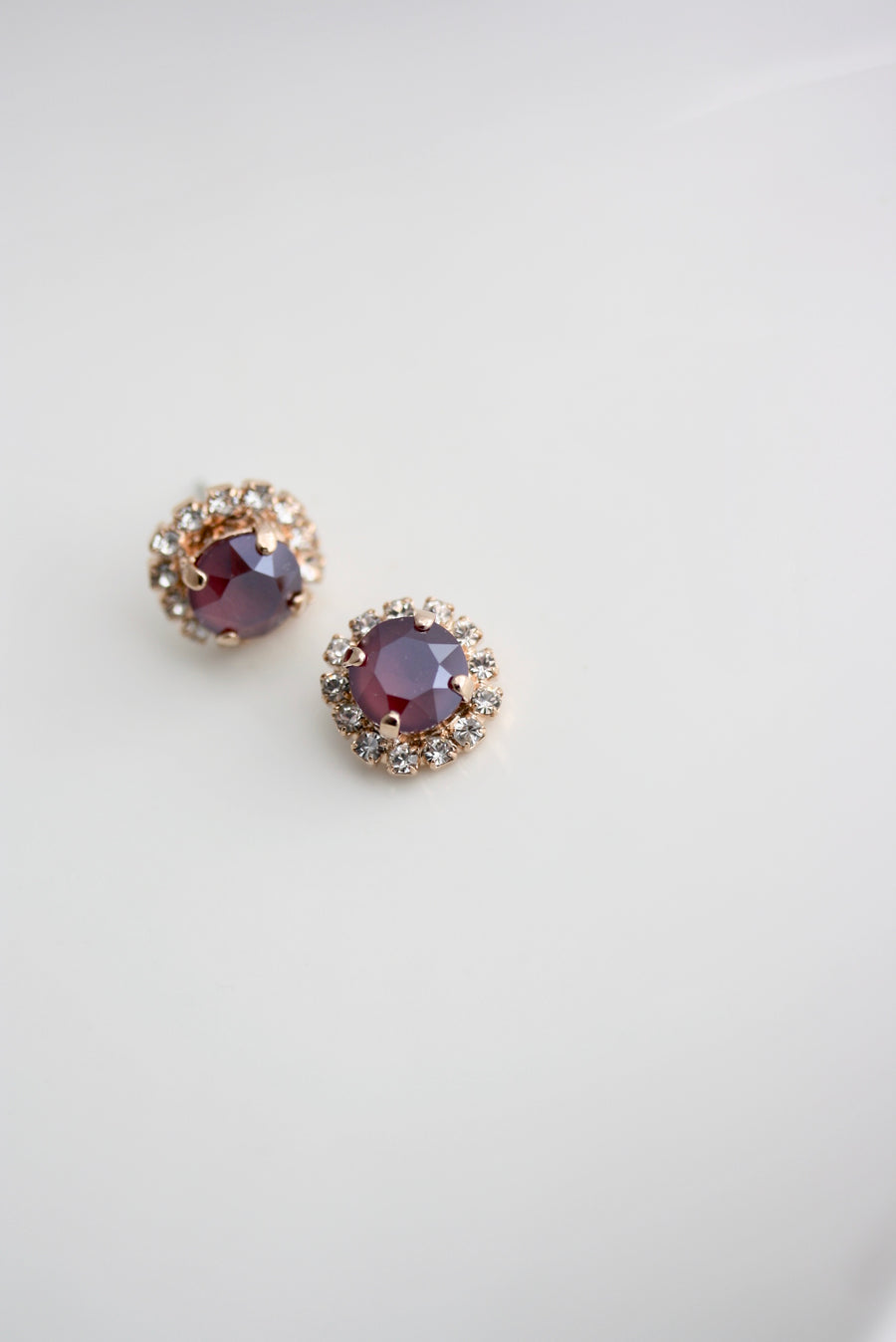 Red Crystal Halo Stud Earrings