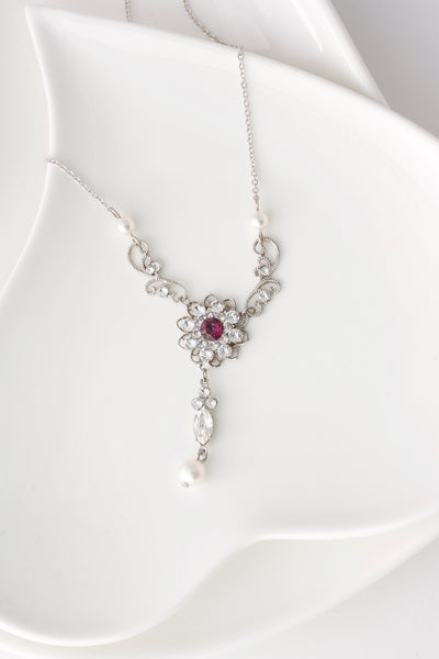 Cara Crystal Pearl Wedding Necklace - Lulu Splendor