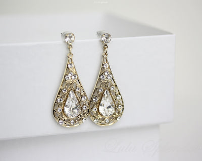 Mier Crystal Drop Bridal Earrings - Lulu Splendor