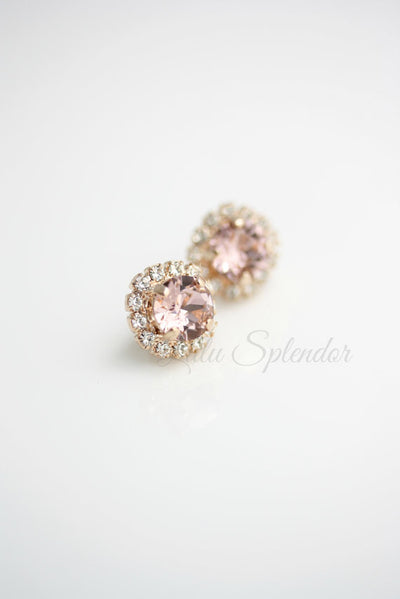 Halo Crystal Blush Stud Earrings - Lulu Splendor