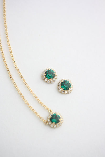 Z15 Emerald Bridal Studs And Necklace