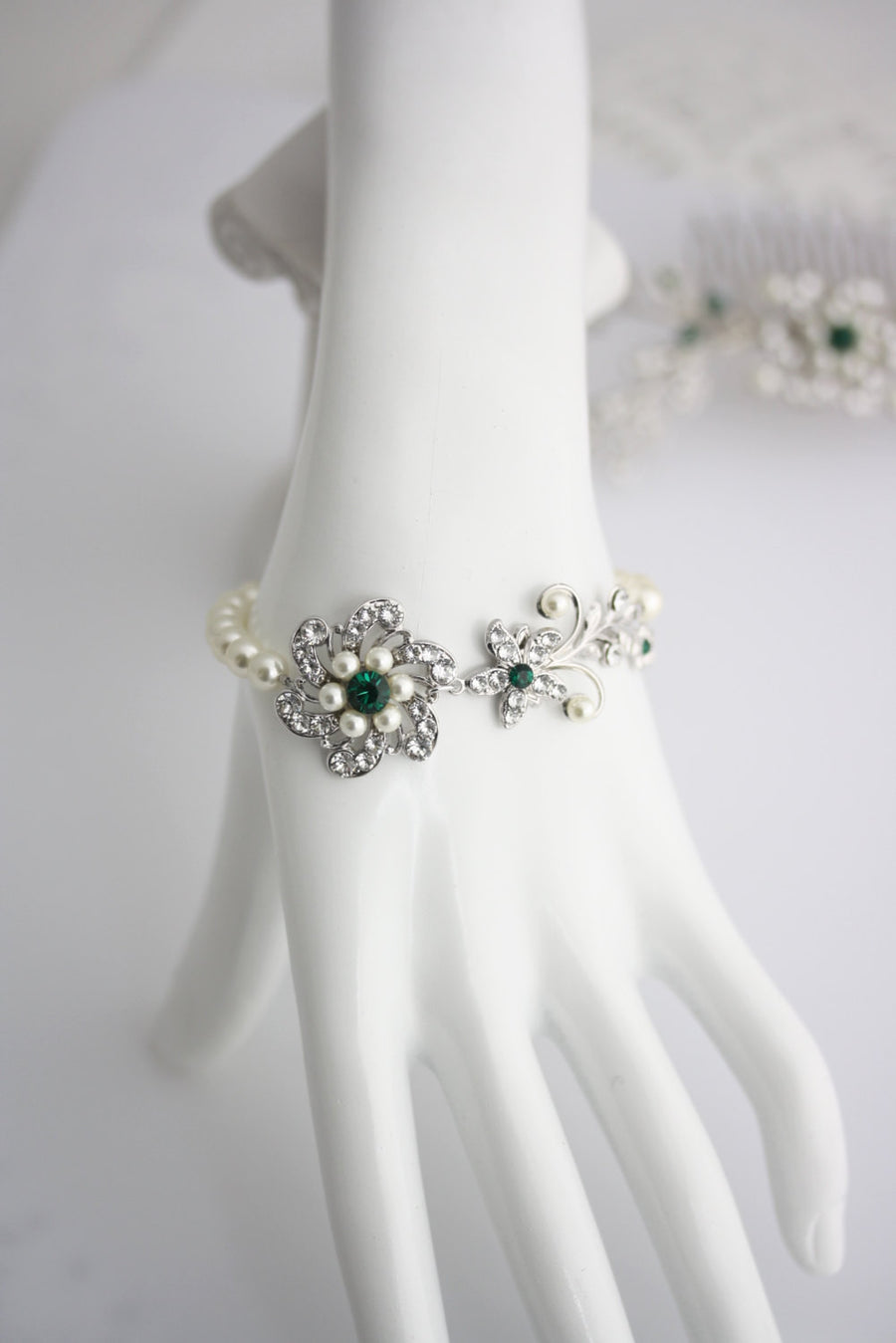 Sabine Fine Emerald Wedding Bracelet