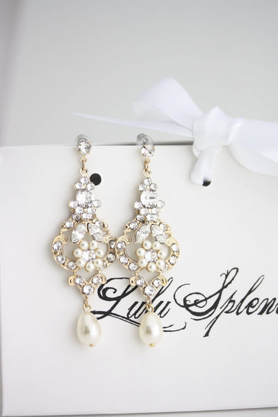 Amy Gold Pearl Wedding Earrings - Lulu Splendor