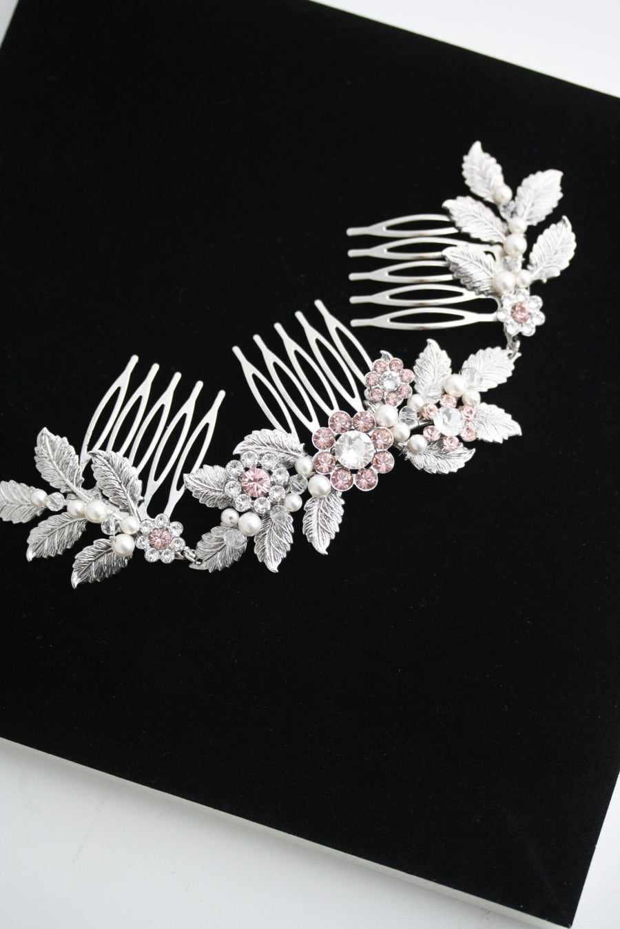Stacey Pink Blush Bridal Hair Comb