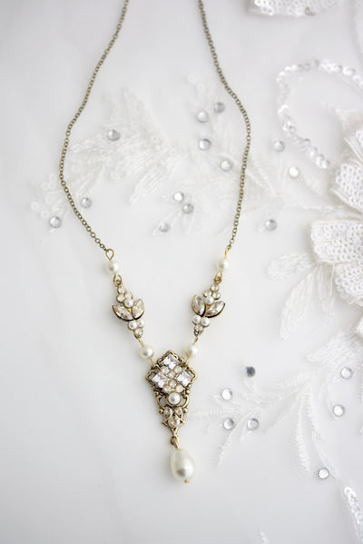 Katrina Vintage Gold Wedding Necklace - Lulu Splendor