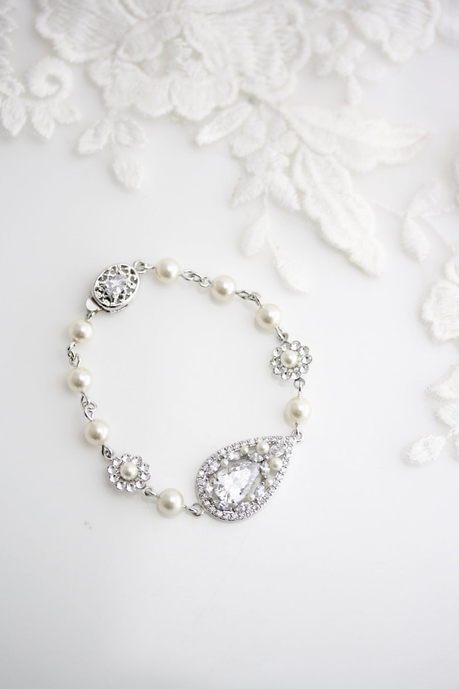 Vivienne Crystal Silver Wedding Bracelet