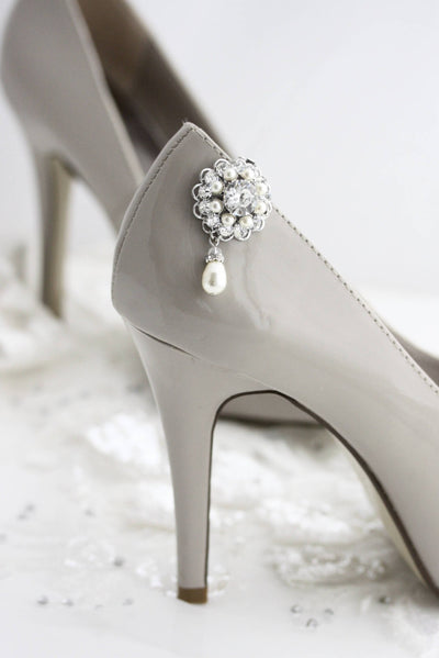 Ella Crystal Pearl Bridal Wedding Shoe Clips - Lulu Splendor