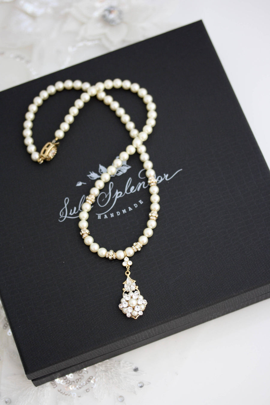 Paris Pendant Gold Pearl Wedding Necklace - Lulu Splendor