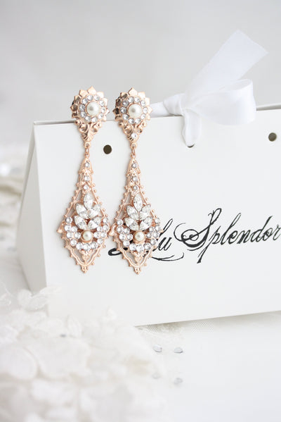 Gauge Wedding Earrings Bridal Plugs Rose Gold Crystal and Pearl Jewelry Art Deco Dangle Earrings Custom URSULA