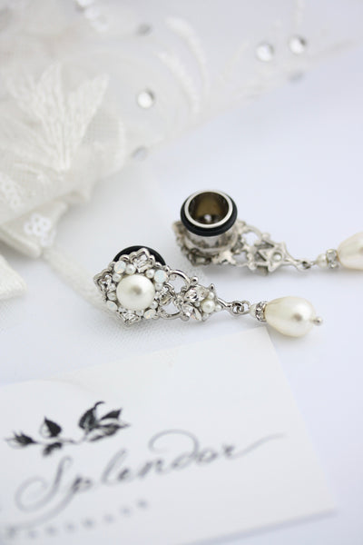 Gauge Earrings For Wedding Plugs 2ga 6mm Silver Crystal and Pearl Jewelry Unique Dangle Bridal Earrings SWEENY Ready to Ship