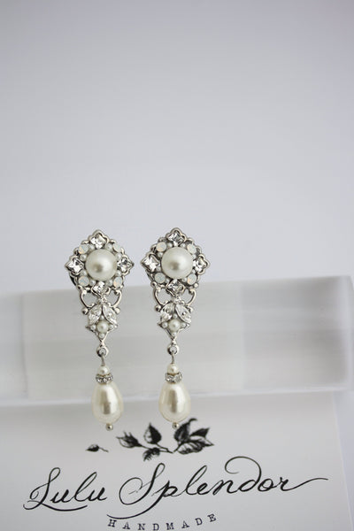 Gauge Earrings For Wedding Plugs Half Inch ga 12mm Silver Crystal and Pearl Jewelry Unique Dangle Bridal Earrings SWEENY Ready to Ship