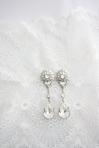 Gauge Earrings For Wedding Crystal Teardrop Plugs 10mm 00ga  Boho Bride Sparkly Dangle Earrings PENNY Ready to Ship