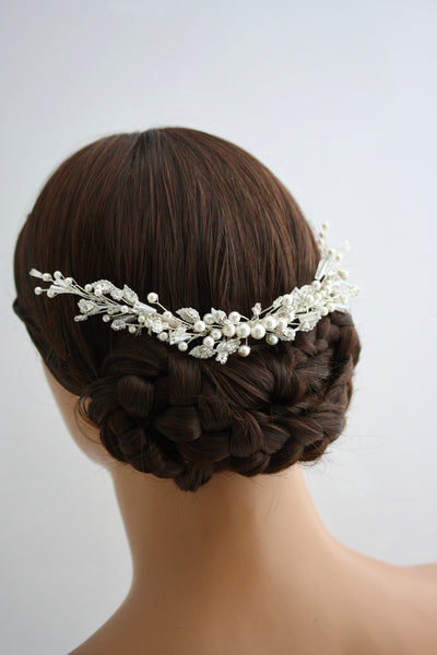 Beaded hair vine for wedding elegant pearl and crystal custom headpiece for brides minimalist head comb custom colours IRELAND