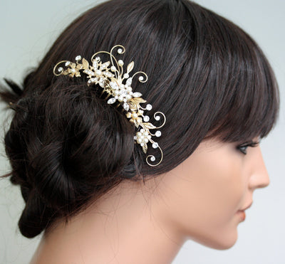 Ambria Floral Gold Wedding Comb - Lulu Splendor