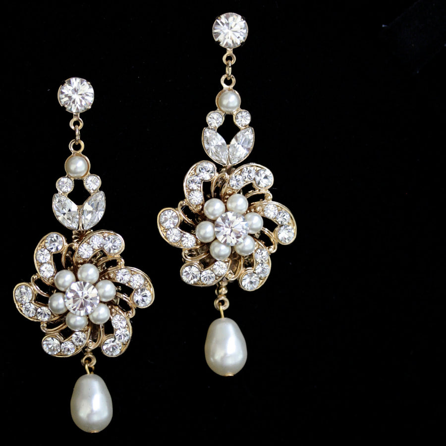Sabine Gold Chandelier Wedding Earrings