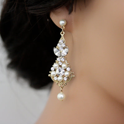 Paris Crystal Pearl Wedding Earrings - Lulu Splendor