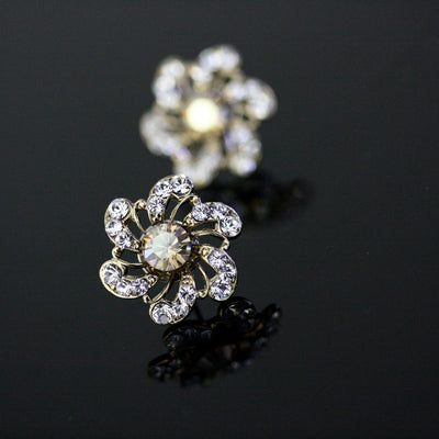 Sabine Golden Shadow Stud Bridal Earrings