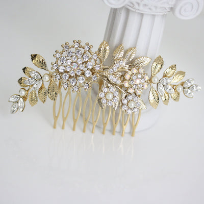 Ivy Gold Crystal Wedding Hair Comb - Lulu Splendor