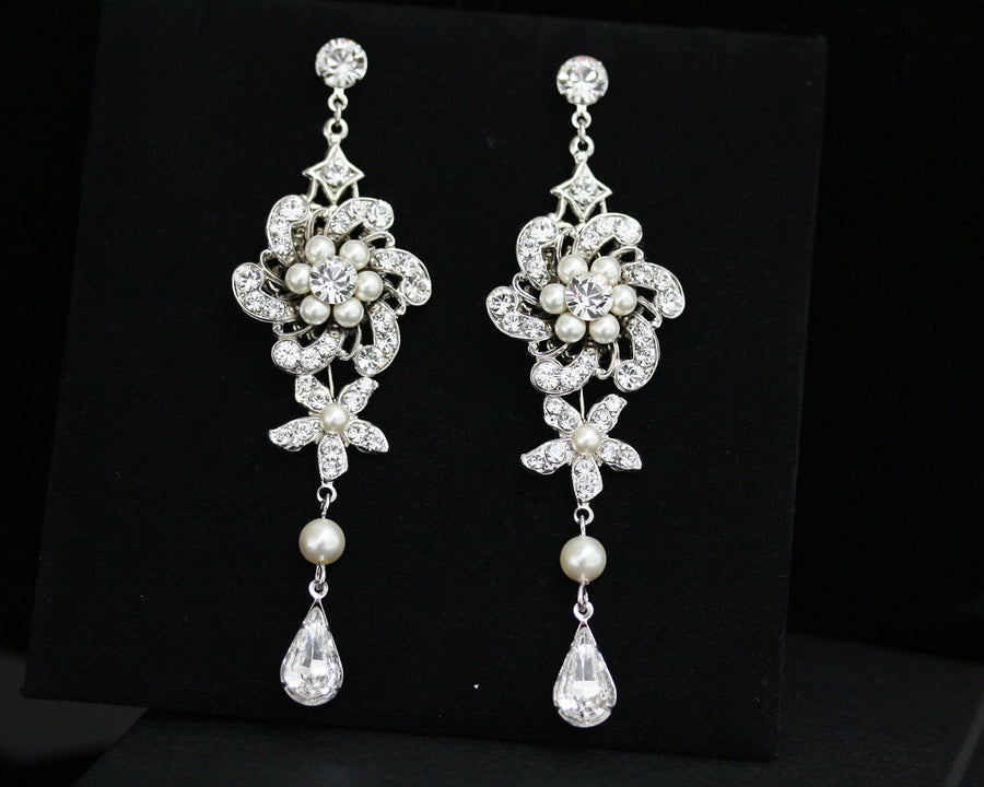 Sabine Grand Chandelier Ivory Pearl Wedding Earrings