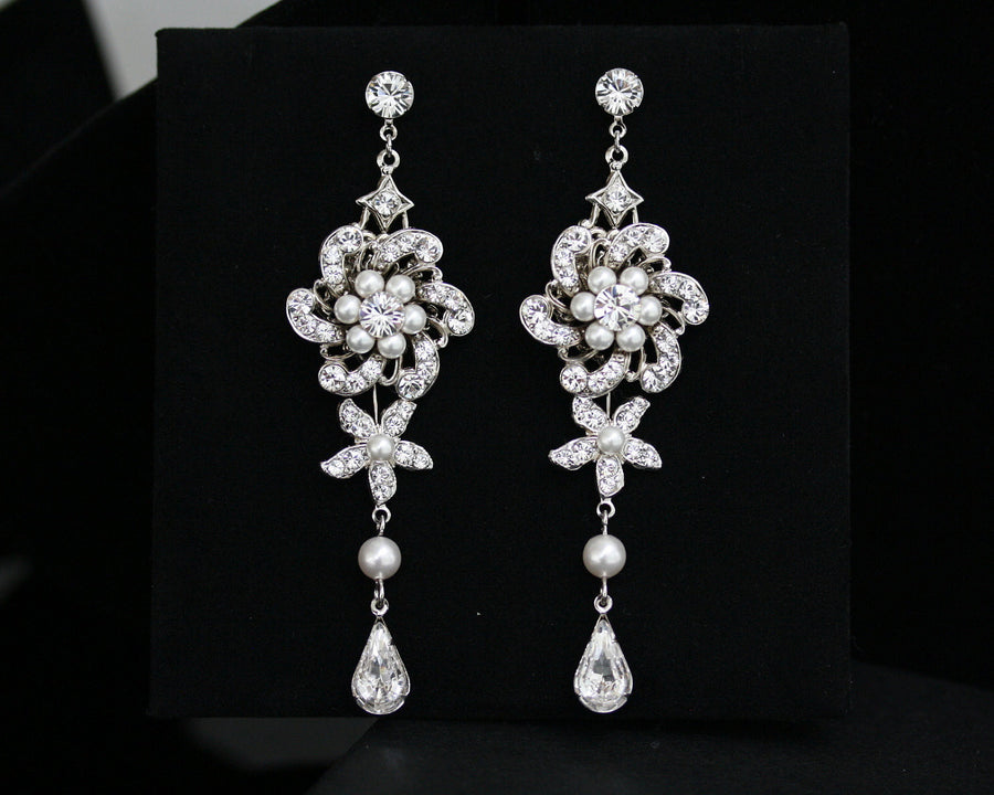 Sabine Grand Chandelier White Pearl Wedding Earrings