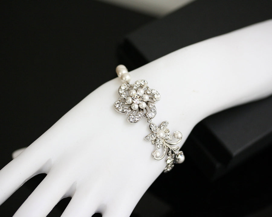 Sabine Fine White Pearl Wedding Bracelet