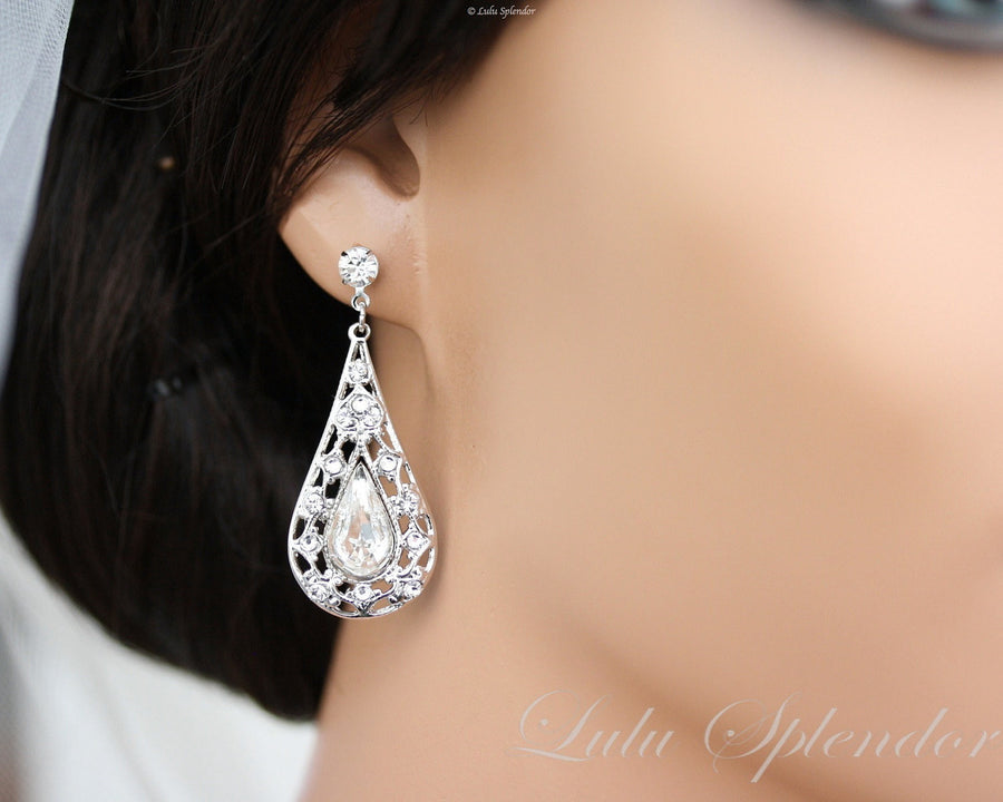 Mier Silver Bridal Earrings - Lulu Splendor