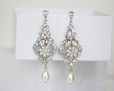 Amy Silver Pearl Wedding Earrings - Lulu Splendor