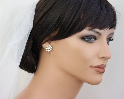 Paris Gold Stud Bridal Earrings - Lulu Splendor
