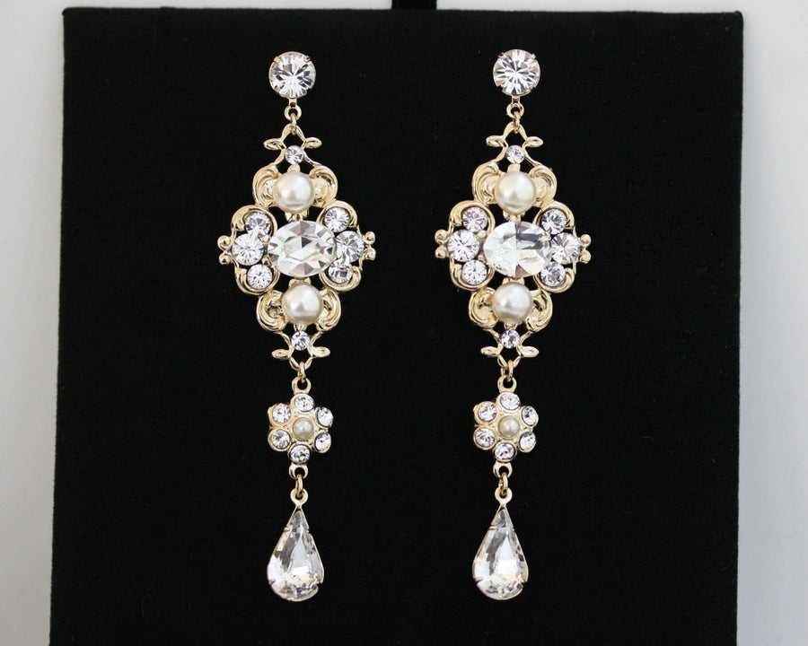 Leila Grand Gold Chandelier Bridal Earrings - Lulu Splendor