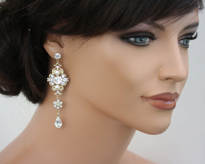 LEILA GRAND CHANDELIER BRIDAL EARRINGS - Lulu Splendor