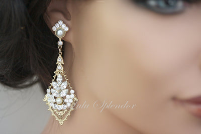 Ursula Deluxe Gold Wedding Earrings