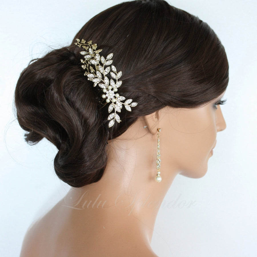 Neve Vintage Leaves Bridal Hair Comb - Lulu Splendor