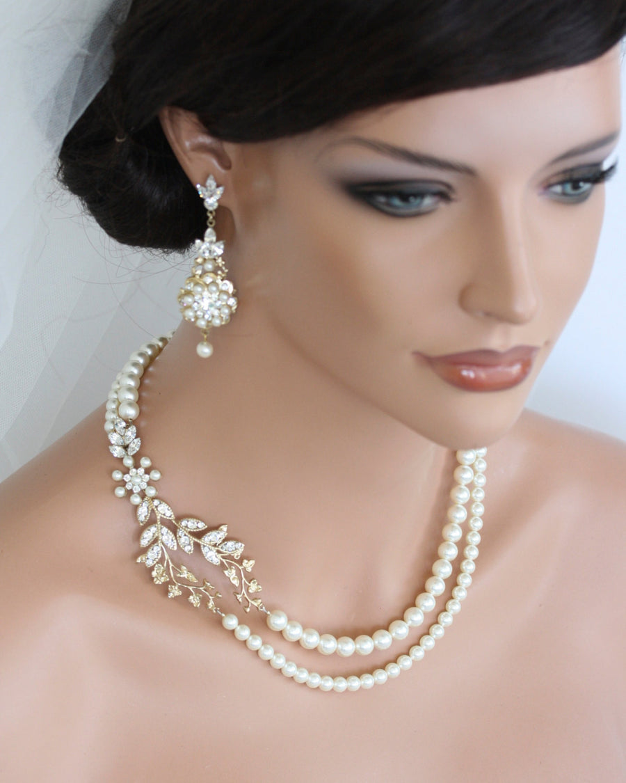 Neve Gold Pearl Wedding Necklace - Lulu Splendor
