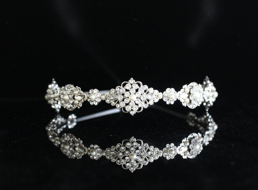 Cara Silver Crystal Bridal Hairband - Lulu Splendor